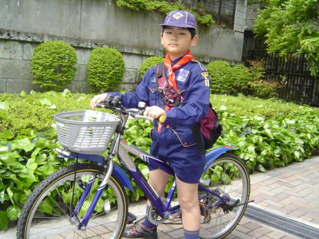 自転車でカブ隊へ